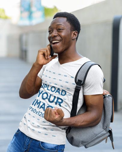 V-Neck T-Shirt Mockup Featuring an Excited Man on the Phone 40299-r-el2