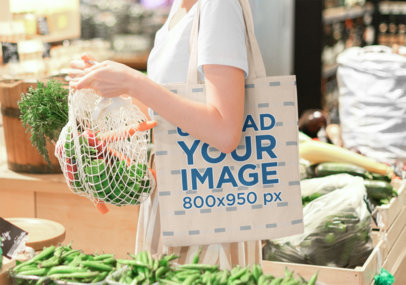 Tote Bag Mockup Featuring a Woman Shopping Vegetables 41707-r-el2