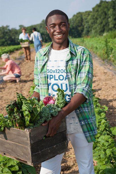 T-Shirt Mockup Featuring a Man Harvesting Vegetables 40123-r-el2