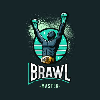 Illustrated Logo Maker Featuring a Boxing Champion 3586l