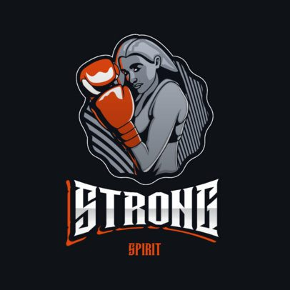 Boxing Logo Template Featuring an Illustration of a Woman with Gloves 3586h