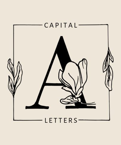 T-Shirt Design Generator Featuring Capital Letters With Botanical Graphics 2598