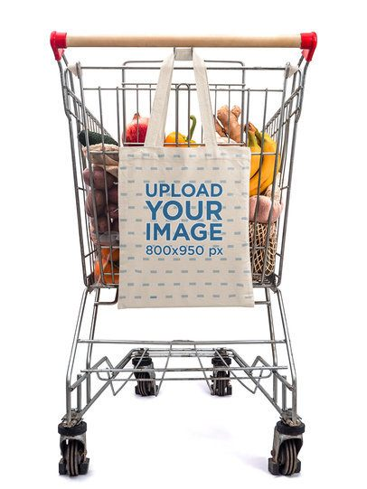 Mockup of a Grocery Bag Hanged on a Shopping Cart 41751-r-el2