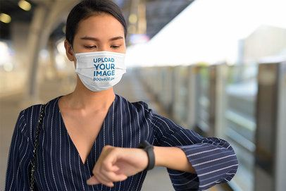 Face Mask Mockup of a Woman Waiting for the Train 41235-r-el2