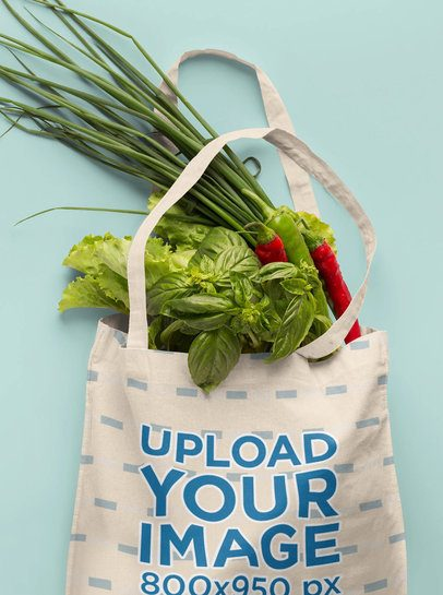 Mockup of a Grocery Bag Filled With Vegetables 41749-r-el2