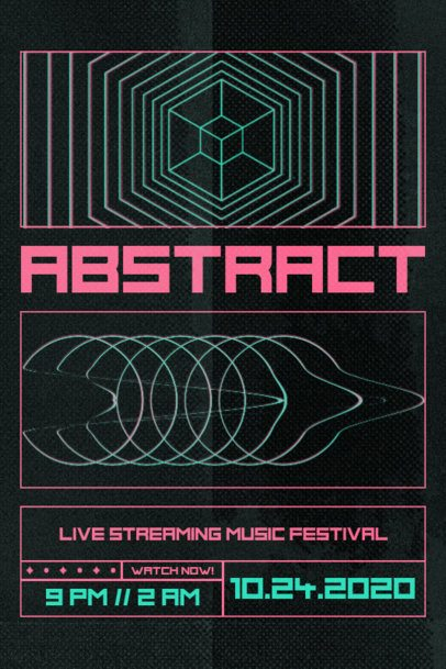 Poster Design Template for Music Festivals Featuring Abstract Geometric Graphics 2604e