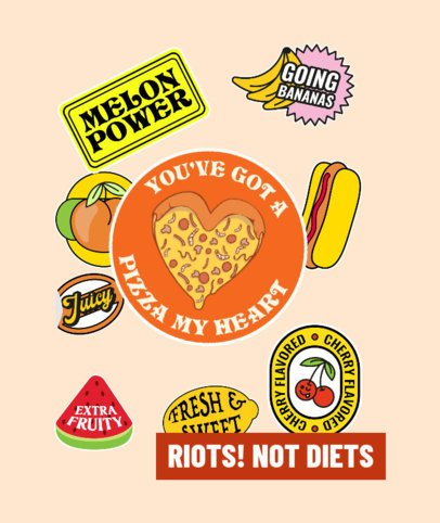 Tote Bag Design Template Featuring Food Stickers 2842c