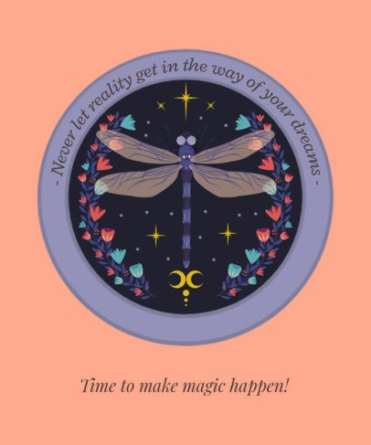 T-Shirt Design Maker with a Dragonfly-Themed Graphic Inspired by Still-Life Art 2841d
