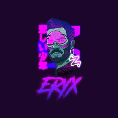 Online Logo Maker Featuring an Illustrated Character and a Cyberpunk Aesthetic 3601a