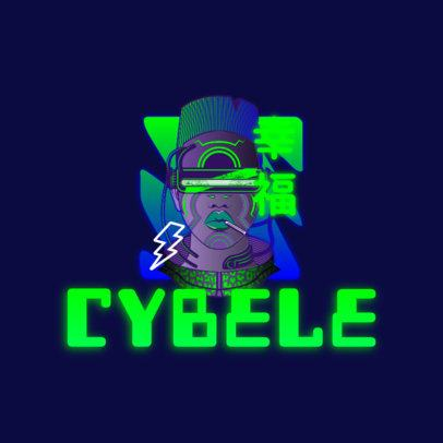 Cyberpunk-Styled Logo Creator Featuring a Cool Character Clipart 3601b