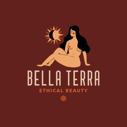 Beauty Logo Template Featuring an Illustration of a Woman and the Sun 3608h
