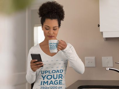 Long-Sleeve Tee Mockup of a Woman Drinking Coffee in an 11 oz Mug 41599-r-el2