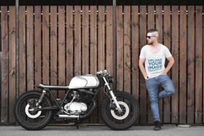 T-Shirt Mockup of a Man Posing with His Custom Motorbike 41672-r-el2