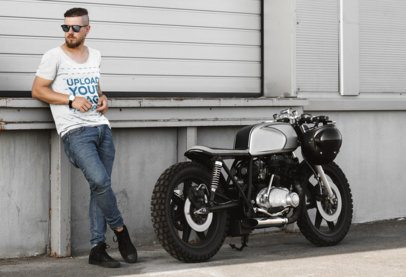 Scoop Neck Tee Mockup of a Man Standing Next to a Motorcycle 41675-r-el2