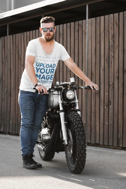 T-Shirt Mockup Featuring a Cool Man and His Motorcycle 41677-r-el2