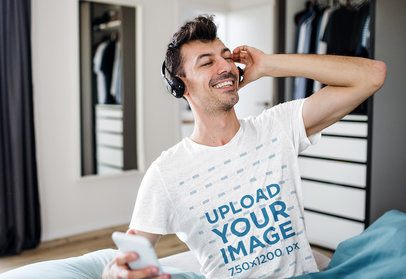 T-Shirt Mockup of a Smiling Man in His Bedroom 40886-r-el2