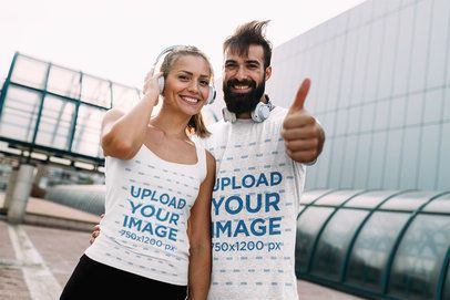 Tank Top and T-Shirt Mockup Featuring a Woman and Her Boyfriend in the City 40610-r-el2