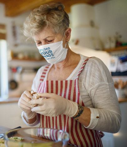 Face Mask Mockup Featuring a Senior Woman in the Kitchen 41611-r-el2