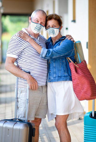 Face Mask Mockup of a Senior Couple Traveling Together 41603-r-el2