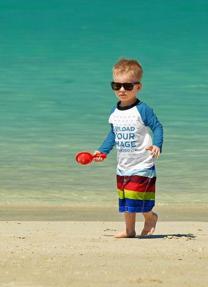 Raglan Long Sleeve Tee Mockup Featuring a Little Boy With Sunglasses 42113-r-el2