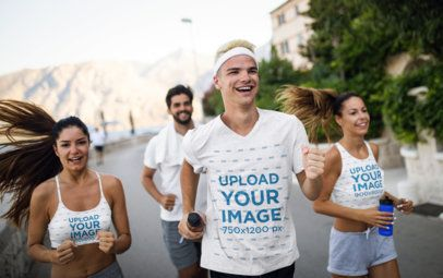 Mockup of a Group of Friends Running While Wearing T-Shirts, Tank Tops, and Sports Bras 40670-r-el2