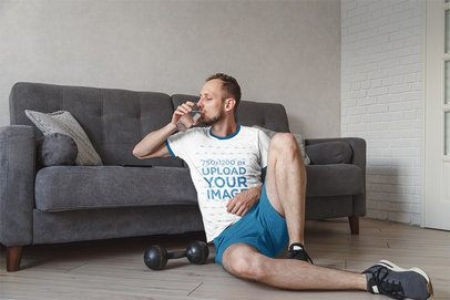 Ringer T-Shirt Mockup of a Man Working Out at Home 41009-r-el2