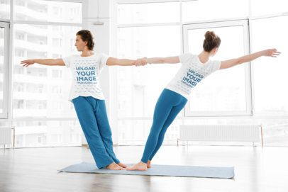 Both-Sides View T-Shirt Mockup of a Couple Doing Yoga 35078-r-el2