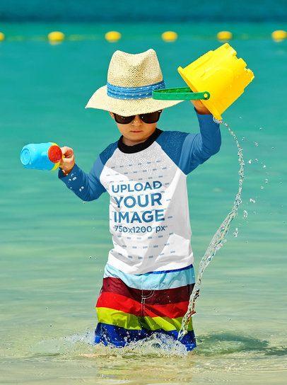 Long Sleeve T-Shirt Mockup of a Baby Boy Playing at the Beach 42128-r-el2