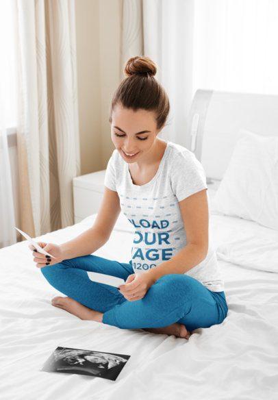 Heather Tee Mockup of a Pregnant Woman in Her Bedroom 39685-r-el2