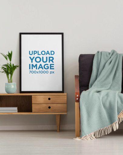 Art Print Mockup Featuring Wooden Furniture and a Cozy Sofa 36330-r-el2
