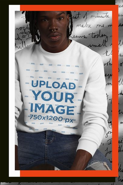 Collage-Style Mockup of a Trendy Man Wearing a Crewneck Sweatshirt 42552