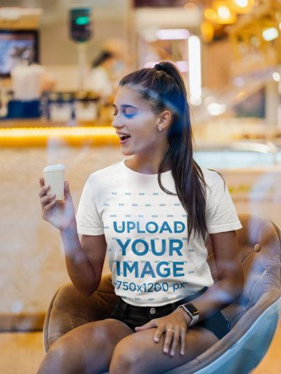 T-Shirt Mockup of a Long-Haired Woman at an Ice-Cream Shop 41336-r-el2