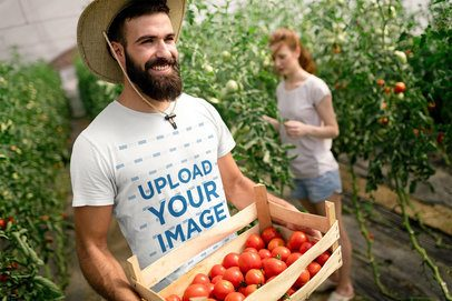 T-Shirt Mockup of a Man Harvesting Tomatoes with His Girlfriend 40376-r-el2