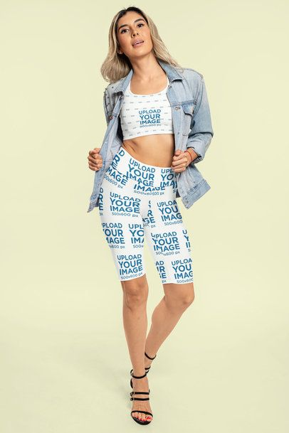 Mockup of a Woman Modeling an Athleisure Look of Bike Shorts and a Sports Bra 42338