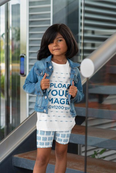 T-Shirt and Bike Shorts Mockup of a Stylish Little Girl 42372