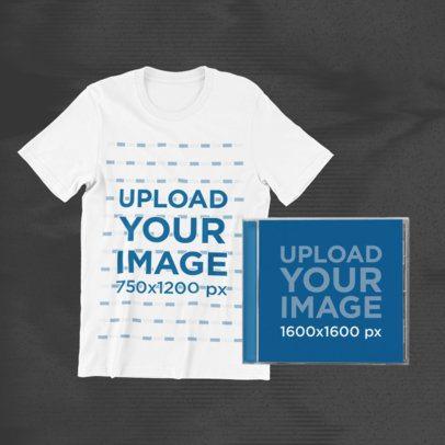 T-Shirt Mockup Featuring a CD Jewel Case 43330-r-el2
