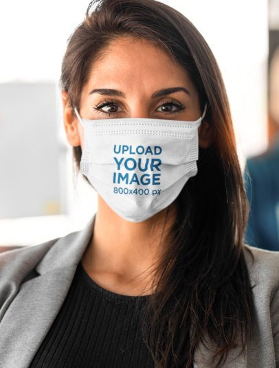 Face Mask Mockup Featuring a Woman at an Office 41948-r-el2
