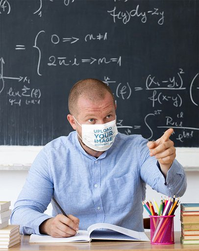 Face Mask Mockup of a Math Teacher Giving a Lecture 42885-r-el2