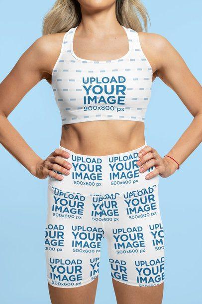 Sports Bra Mockup of a Woman Wearing Sublimated Bike Shorts at a Studio 42341