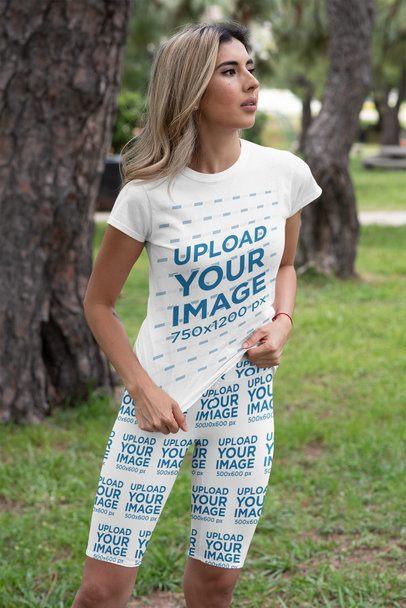 T-Shirt and Bike Shorts Mockup of a Woman at a Park 42386