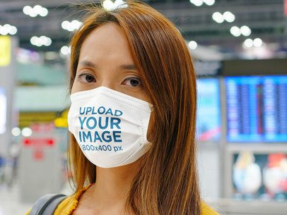 Face Mask Mockup Featuring a Woman at an Airport Terminal 41895-r-el2