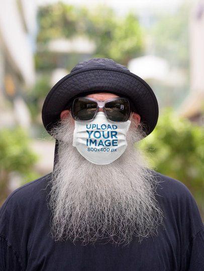Mockup of a Senior Bearded Man Wearing a Customizable Face Mask 42825-r-el2