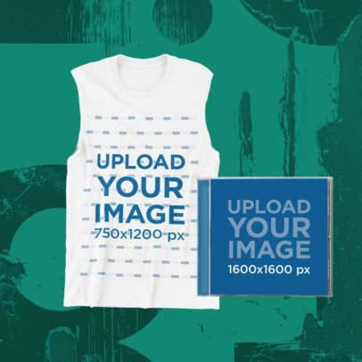 Merch Bundle Mockup Featuring a Front-View Tank Top and a CD Jewel Case 43373-r-el2