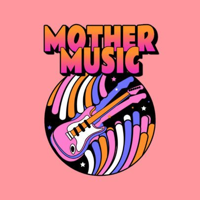 Online Logo Maker for a Techno DJ Featuring a Psychedelic Guitar 3655c