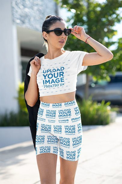Crop Top and Bike Shorts Mockup of a Woman in an Athleisure Look 42377