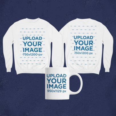 Mockup of a Merch Bundle Featuring Two Sweatshirts and an 11 oz Coffee Mug 43420-r-el2