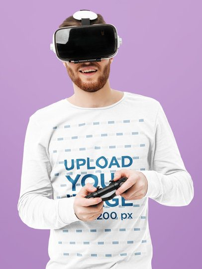 Long Sleeve T-Shirt Mockup of a Man Playing a VR Game 42594-r-el2