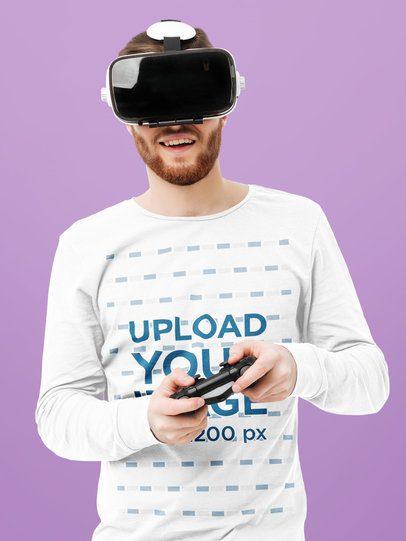 Long Sleeve T-Shirt Mockup of a Man Playing a VR Game 42594-r-el2