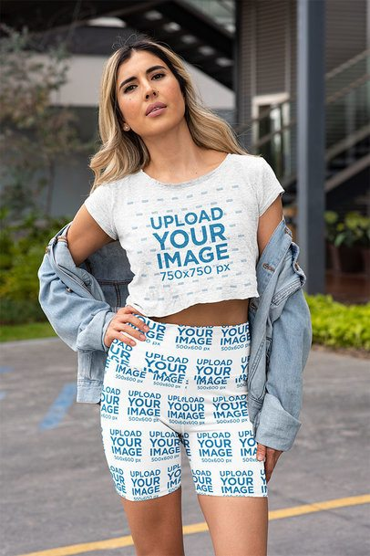 Mockup of a Blonde Woman Wearing Bike Shorts and a Crop Top 42375