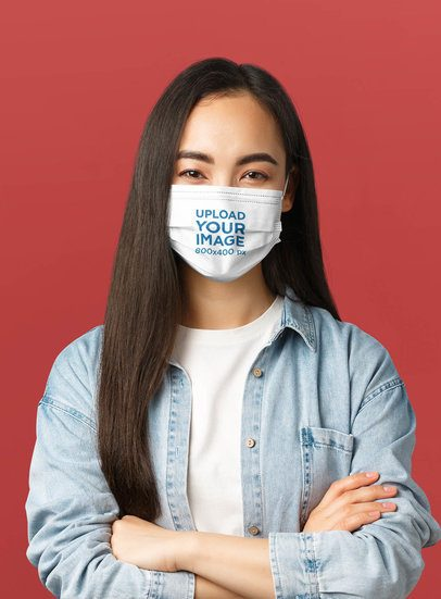 Face Mask Mockup Featuring a Woman Posing With Crossed Arms 42863-r-el2